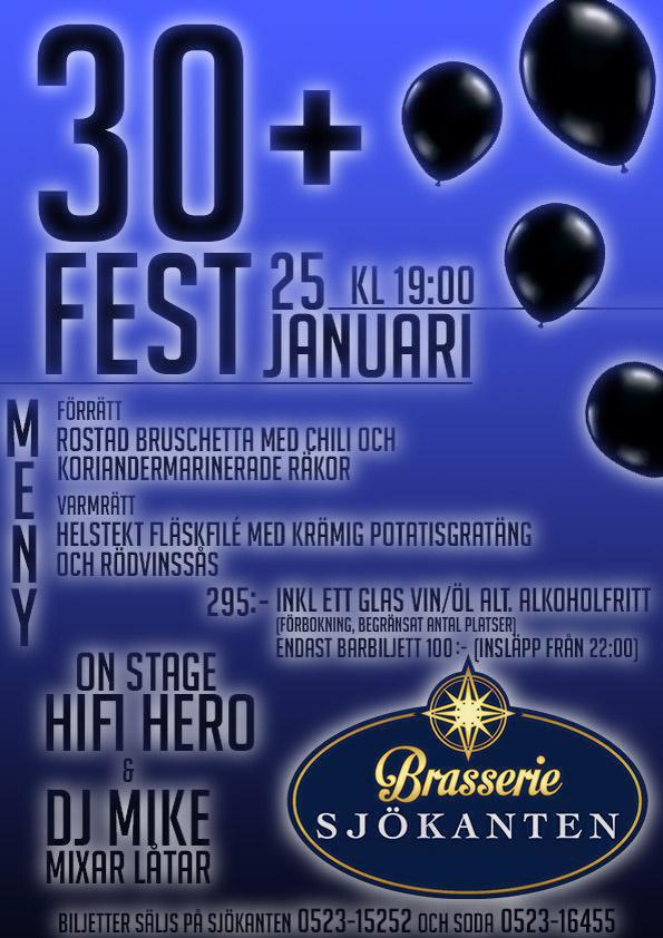 30+ Fest på Brasserie Sjökanten